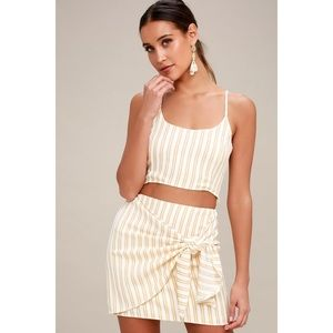 🆕 Riviera Tan Striped Wrap Mini Skirt
